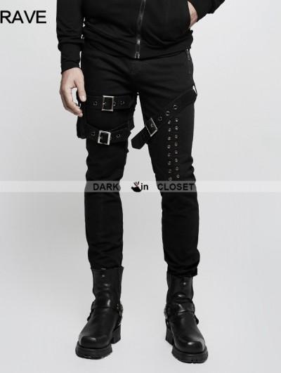 Punk Rave Black Gothic Punk Buckle Belt Denim Pants for Men