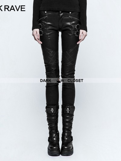 Punk Rave Black Gothic Punk Grid Stitching PU Leather Pants for Women