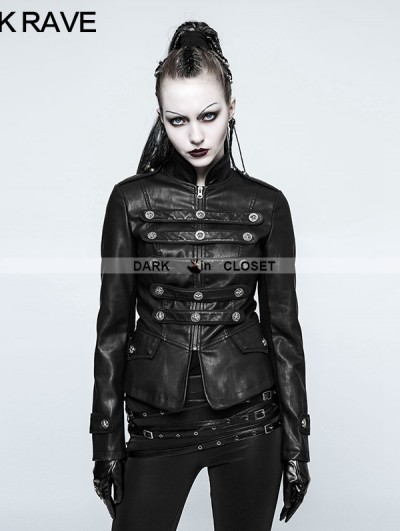 Punk Rave Black Gothic Punk Military Uniform Short Coat for Women