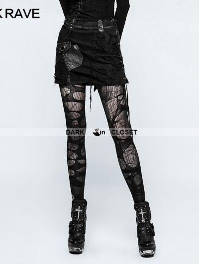 Punk Rave Black Gothic Punk Denim Broken Skirt for Women