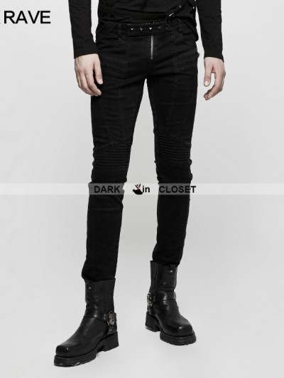 Punk Rave Black Gothic Punk Long Denim Pants for Men