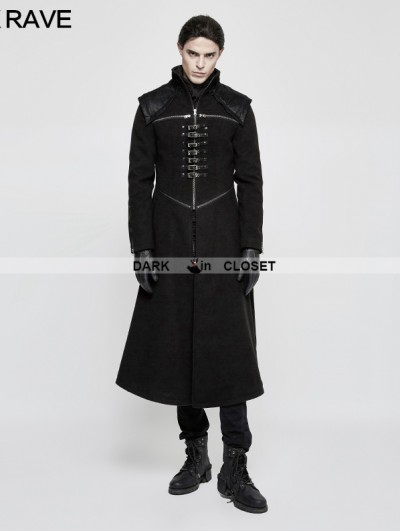 Punk Rave Black Gothic Punk Dark Long Style Coat for Men