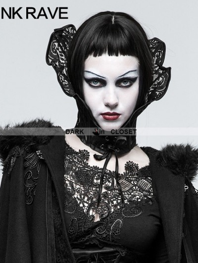Punk Rave Black Gothic Queen Positioning Lace Scarf