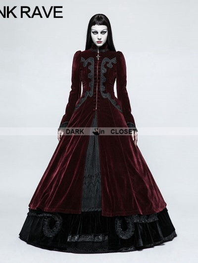 Punk Rave Red Gothic Palace Swallow Tail Long Dress Jacket for Women