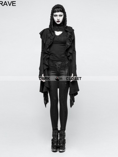 Punk Rave Black Irregular Gothic Hooded Sweater for Women