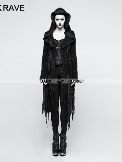 Punk Rave Black Irregular Gothic Decadent Sweater for Women