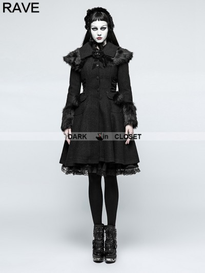 Punk Rave Black Gothic Lolita Fur Worsted Coat for Women