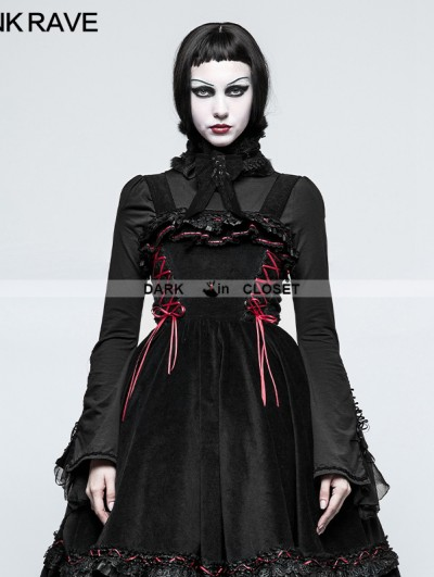 Punk Rave Black Gothic Lolita High Neck Lace Collar Shirt for Women