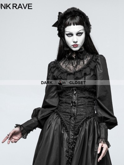 Punk Rave Black Gothic Lolita Leg-of-Mutton Sleeve Shirt for Women