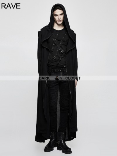 Punk Rave Black Mens Gothic Long Coat with Cross on Back