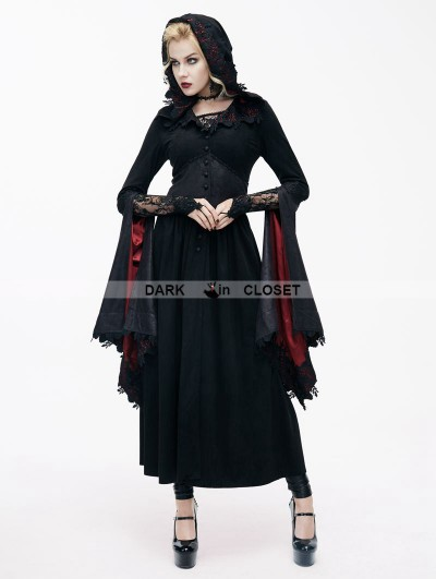Devil Fashion Black Romantic Gothic Vampire Style Hooded Dress