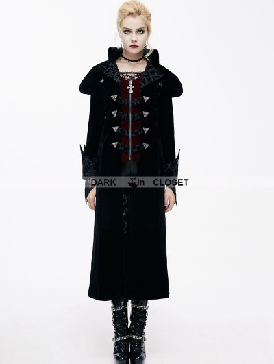 Devil Fashion Black Gothic Vintage Palace Style Long Jacket for Women