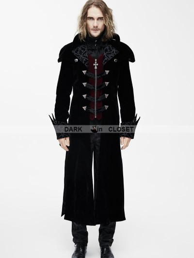 Devil Fashion Black Gothic Vintage Palace Style Long Jacket for Men