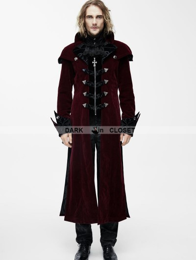 Devil Fashion Red Gothic Vintage Palace Style Long Jacket for Men