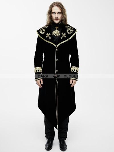 Devil Fashion Black Gothic Velvet Palace Style Long Jacket with Gold Hem for Men