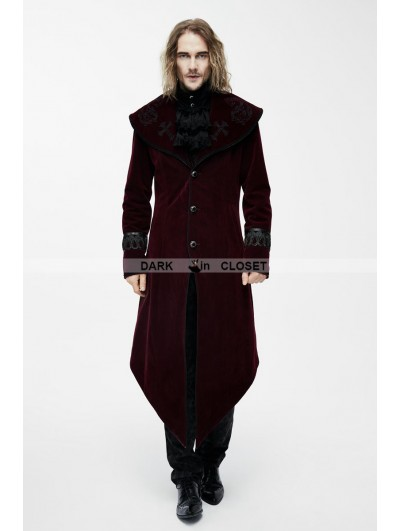Devil Fashion Red Gothic Velvet Palace Style Long Jacket with Black Hem for Men