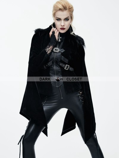 Devil Fashion Black Gothic Velvet Short Jacket Cape for Women