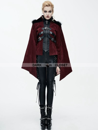 Devil Fashion Red Gothic Velvet Short Jacket Cape for Women