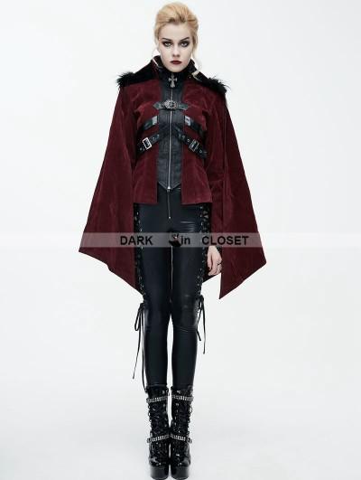 Devil Fashion Red Gothic Velvet Short Jacket Cape for Women