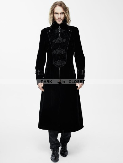 Devil Fashion Black Velvet Chinese Knot Gothic Vintage Long Jacket for Men