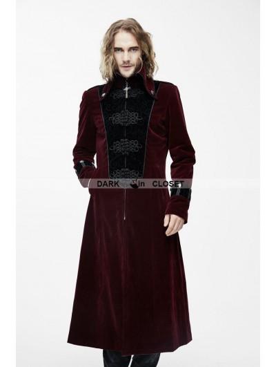 Devil Fashion Red Velvet Chinese Knot Gothic Vintage Long Jacket for Men