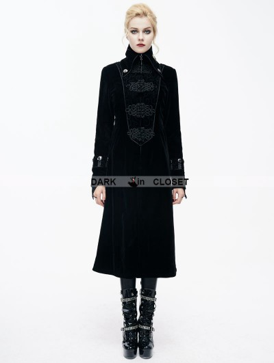 Devil Fashion Black Velvet Chinese Knot Gothic Vintage Long Jacket for Women