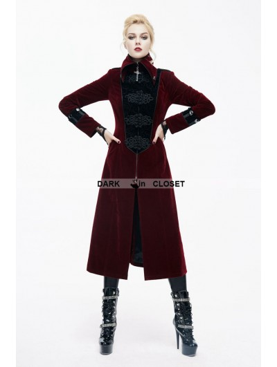 Devil Fashion Red Velvet Chinese Knot Gothic Vintage Long Jacket for Women
