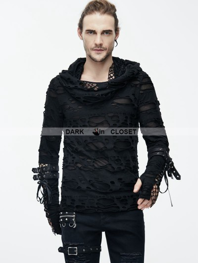 Devil Fashion Black Gothic Hole Hooded Long Sleeves Shirt for Men