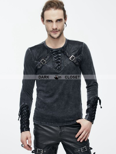 Devil Fashion Do Old Style Steampunk Mens Shirt with Black Leather Accents