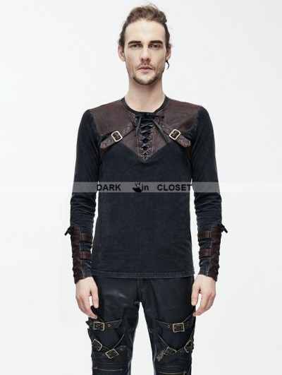 Devil Fashion Do Old Style Steampunk Mens Shirt with Brown Leather Accents