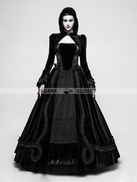 Punk rave black romantic gothic ball gown long dress