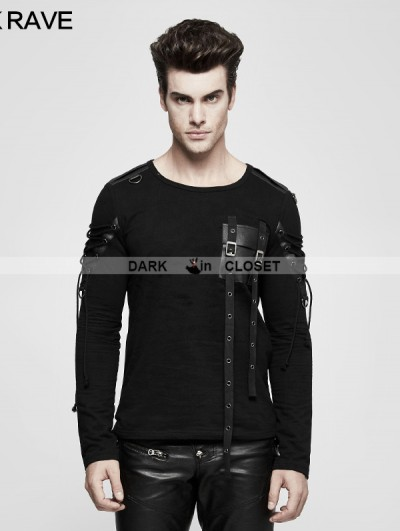 Punk Rave Black Gothic Military Uniform Long Sleeve T-Shirt for Men