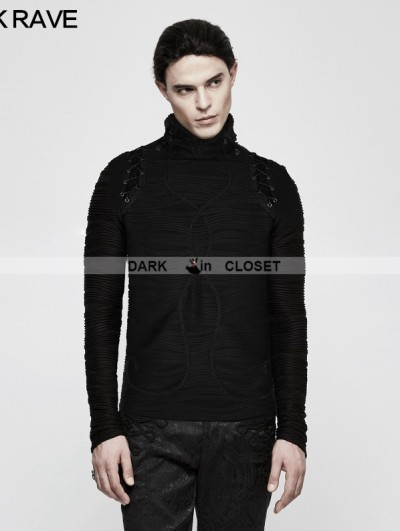 Punk Rave Black Gothic Stereo Stripe Knitted T-Shirt for Men