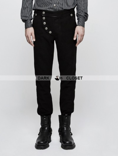 Punk Rave Black Gothic Military Uniform Mens Trousers