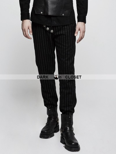 Punk Rave Black Gothic Military Uniform Stripe Men Trousers