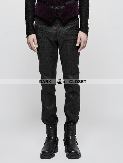 Punk Rave Black Vintage Gothic Jacquard Pants for Men