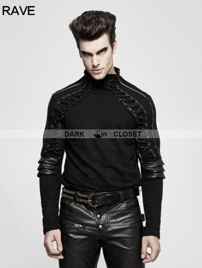 Punk Rave Black Steampunk Armor High Collar T-Shirt for Men