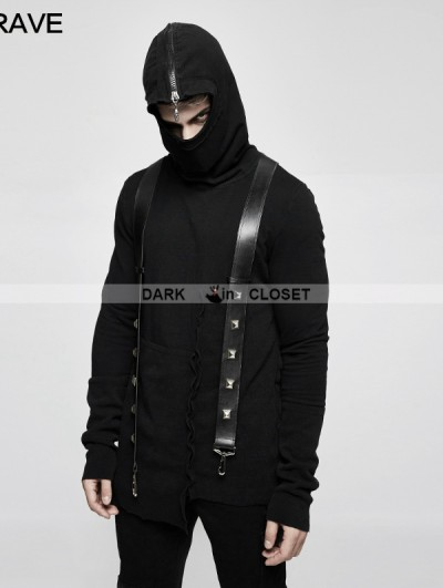 Punk Rave Black Gothic Thread Knitted Hooded Sweater for Men
