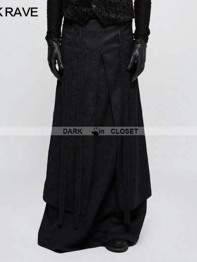 Punk Rave Black Gothic Half Long Skirt for Men