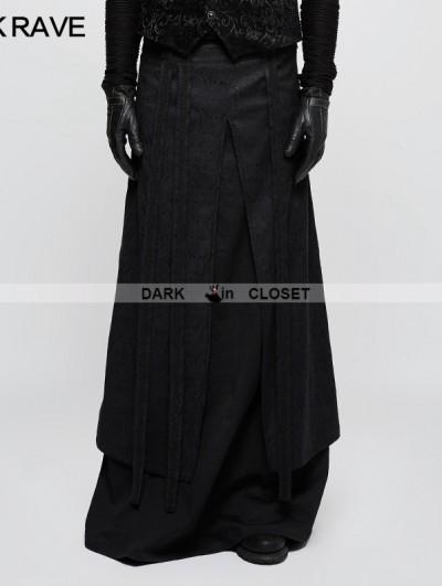 Punk Rave Black Gothic Half Long Skirt for Men