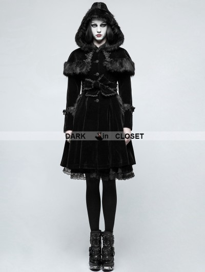 Punk Rave Black Sweet Gothic Lolita Faux Fur Coat