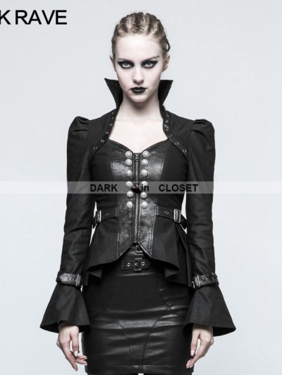 Punk Rave Black Steampunk Trumpet Sleeve Short Jacket for Women