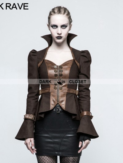 Punk Rave Brown Steampunk Trumpet Sleeve Short Jacket for Women