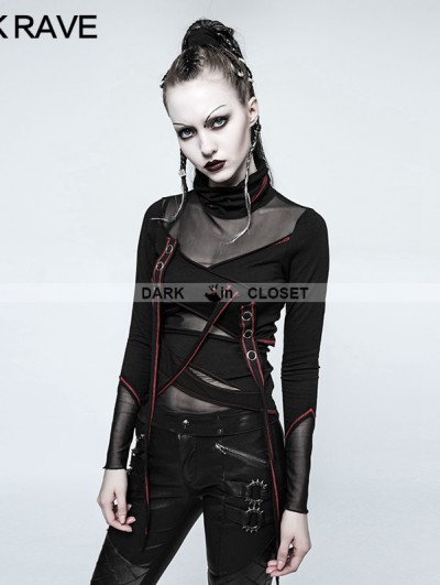 Punk Rave Black and Red Gothic Punk Multi Split T-shirt for Women