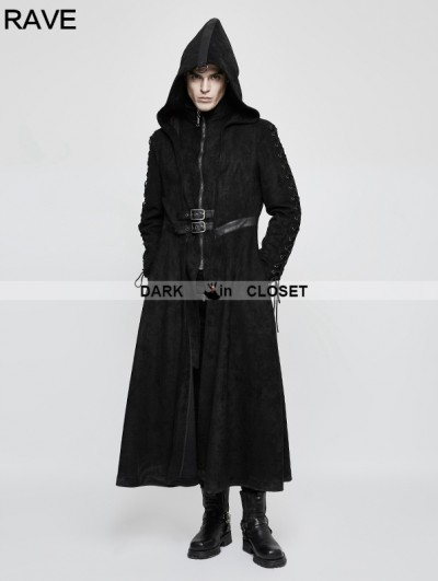 Punk Rave Black Gothic Dark Angel Long Coat for Men