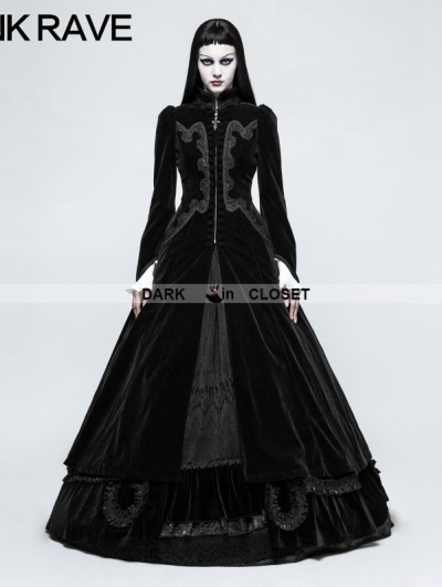Punk Rave Black Gothic Palace Swallow Tail Long Dress Jacket for Women