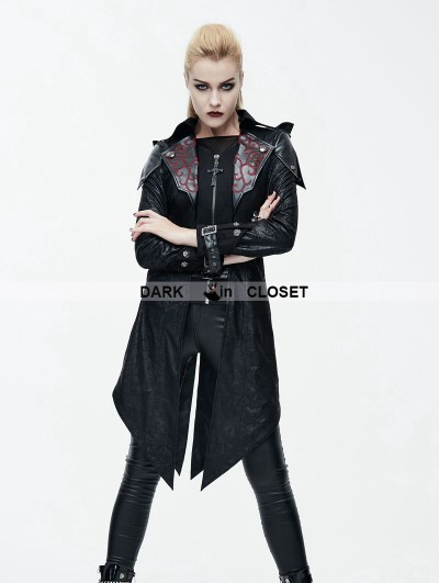 Devil Fashion Black Vintage PU Leather Gothic Trench Coat for Women
