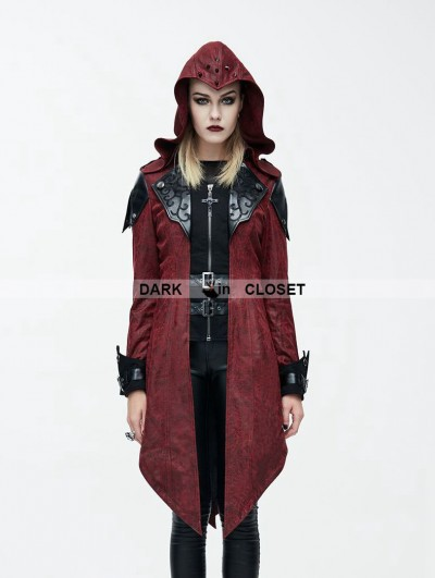 Devil Fashion Black and Red Vintage PU Leather Gothic Trench Coat for Women