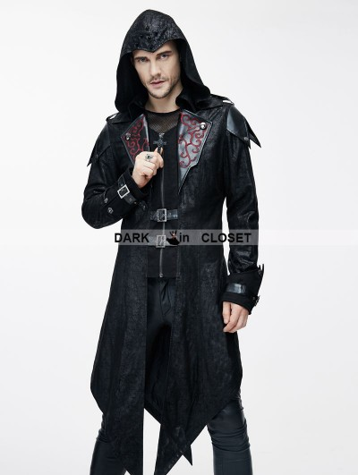 Devil Fashion Black Vintage PU Leather Gothic Trench Coat for Men