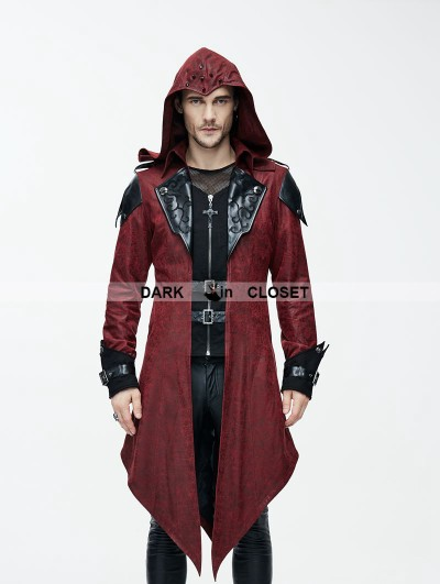 Devil Fashion Black and Red Vintage PU Leather Gothic Trench Coat for Men